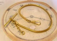 Vintage Pocket Watch Chain 1970 12ct Gold Plated Snake Link Albert With T Bar (3 of 10)