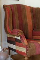 Antique Oak Chair with Multicoloured Afghan Kelim (2 of 9)