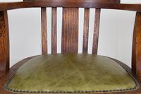 Vintage 1930s Oak Office Chair With Fresh Leather Seat x 2 (3 of 11)