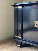 Jacques Adnet French Art Deco Modernist Ebonised Enfilade Sideboard with Gilt Bronze Mounts (9 of 12)