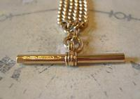 Pocket Watch Chain 1930s 12ct Rose Rolled Gold Double Albert With T Bar (9 of 12)