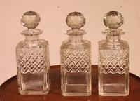 Liquor Cellar / Tantalus In Silver Metal And Oak Three Crystal Bottles - 19th Century (10 of 10)