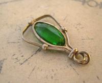 Antique Pocket Watch Chain Fob 1900 Art Nouveau Silver Chrome & Vivid Green Glass Fob (5 of 8)