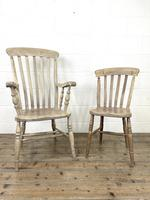 Set of Four Slat Back Antique Kitchen Chairs (2 of 10)