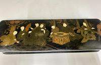 Antique Oriental Hand Painted Lacquer Glove Box c.1870 (2 of 5)