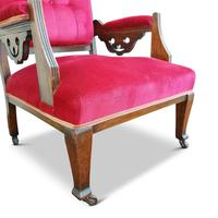 Two Arts & Crafts Fireside Chairs on Castors (6 of 13)