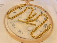 Vintage Pocket Watch Chain 1970 12ct Gold Plated Curb Link Albert With T Bar (3 of 10)