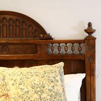 Gothic Style Single Walnut Antique Bed (6 of 8)