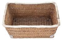 Vintage large strong cane and pig skin log or storage basket (3 of 8)