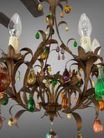 Murano Glass a Fruit Venetian 6 Arm Toleware Ceiling Light Chandelier (9 of 9)