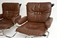 1960's Pair of Leather & Chrome Armchairs by Ingmar Relling (4 of 12)