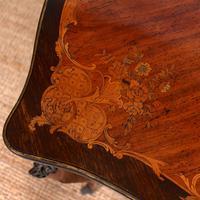 Serpentine Writing Table Louis XVI Style Inlaid Kingwood (8 of 19)
