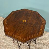 Striking Figured Rosewood Victorian Inlaid Antique Occasional Table (3 of 7)