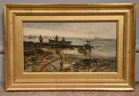 """Oil painting by Arthur Wellesley Cottrell """"Low Tide, Mumbles, South Wales"""""""