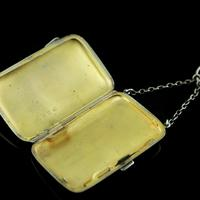 Antique Solid Silver Blue Enamel Guilloche Cigarette Case - Robert Chandler 1916 (10 of 15)