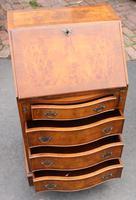 1960s Small Serpentine Front Burr Walnut Ladies Bureau + Key (2 of 5)