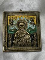 Early 20th Century Cold Painted Bronze Religious Russian Orthodox Church Icon (13 of 15)