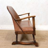 Carved Oak Leather Bucket Sofa & Chair (12 of 24)