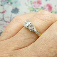 Art Deco 18ct Platinum Old Cut Diamond Solitaire Engagement Ring 0.35ct c.1920 (4 of 11)
