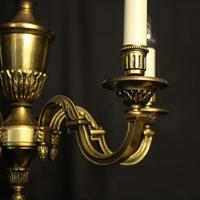 French 5 Light Gilded Brass Antique Chandelier (7 of 10)