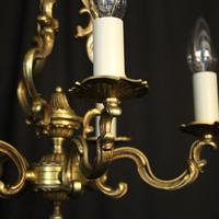 French Gilded Brass 5 Light Chandelier (5 of 10)
