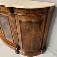 English burr walnut Credenza with Carrara marble top (8 of 10)