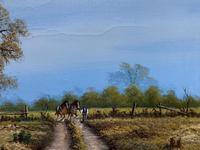 Original 1960s Vintage Antique Country Equestrian Farming Landscape Oil Painting (8 of 11)