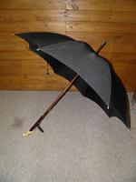 Antique Black Canopy Umbrella & Intricately Carved Parrot Handle with Glass Eyes (3 of 21)