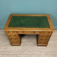 Victorian Golden Oak Antique Pedestal Desk (2 of 7)