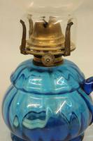Antique Blue Glass Finger / Hand Oil Lamp (2 of 6)