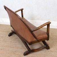 Carved Oak Leather Bucket Sofa & Chair (11 of 24)