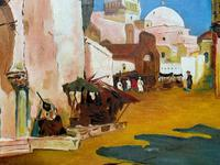 Augusta Coles Moroccan Cityscape Oil Painting Mahogany Fire Screen c.1911 (9 of 16)
