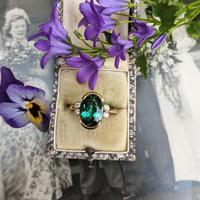 Vintage 18ct Gold Green Tourmaline & Diamond Dress Ring (10 of 13)
