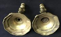 Pair of  Antique Rococo Style  Gilt Cast Brass Candlesticks (4 of 5)