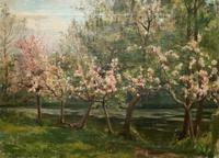 Superb Early 1900s Spring Blossom Riverscape Impressionist Oil Painting (7 of 13)