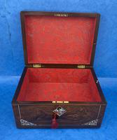 William IV Rosewood Jewellery Box Inlaid with Beautiful Mother of Pearl (9 of 14)