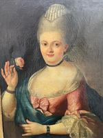 18th Century Oil Painting Portrait Lady In Pink Silk Dress Holding A Rose (15 of 62)
