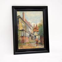 Antique Watercolour Painting of The Mermaid Inn, Rye by Annie L. Lee (2 of 10)