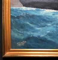 Huge Stunning Antique Seascape Oil Painting of Cunard's RMS Lusitania Ship c.1918 (3 of 16)