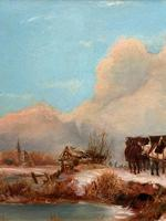 'The Loggers Return Home' Superb Antique Winter Landscape Oil on Canvas Painting (3 of 12)