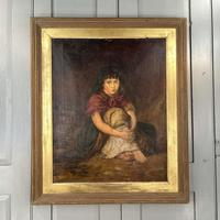 Antique Victorian Oil Painting Portrait of Girl in Red Shawl (2 of 10)