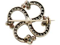1.50ct Diamond & Pearl, 9ct Yellow Gold Brooch - Antique Victorian (4 of 9)