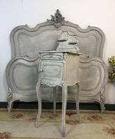 Antique French Double Bed Frame & Pot Cupboard Painted in Weathered Grey (7 of 12)