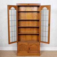 Oak Leaded Glazed Bookcase Arts & Crafts (5 of 10)