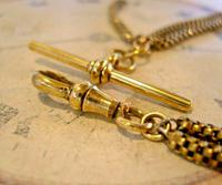 Victorian Pocket Watch Chain 1890s Antique Brass Double Albert With T Bar (7 of 11)