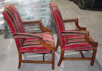 1900s Pair of Mahogany Club Armchairs with Red Stripe Seats (2 of 3)
