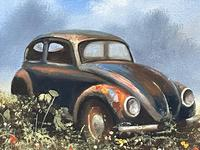 """Oil Painting """"Unloved Abandoned VW Beetle Car"""" Signed David Robert (5 of 27)"""