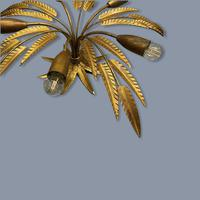 Spanish Ferro Art Gilt Palm Ceiling Light (2 of 11)