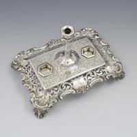 Antique Victorian Silver Double Inkstand With Taperstick & Stamp Box (9 of 15)