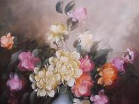 Large Oil on Canvas Bowl of Roses Signed (free Shipping to Mainland England (4 of 12)